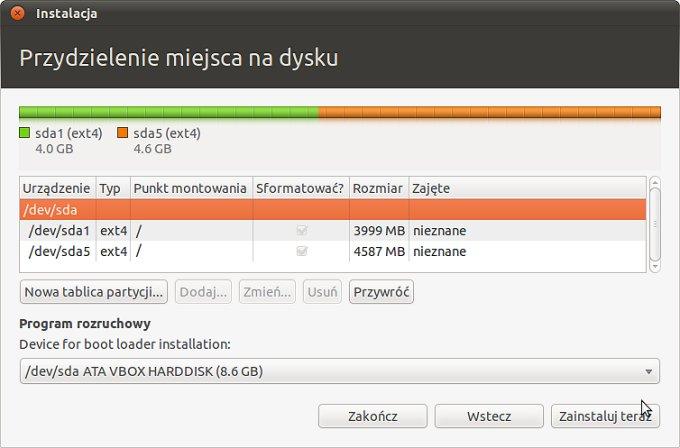 Screen 6 z instalacji