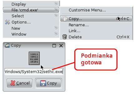 Zmiana nazwy cmd.exe na sethc.exe